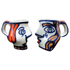 SARGADELOS O Castro Figural Crying PICASSO Faces Coffee Cup Pitcher COUPLE Set