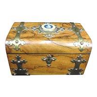 Antique 19th C COROMANDEL Ebony Wedgwood Basaltware Greek God APOLLO Sewing Box