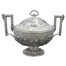 Antique Finely Detailed S KIRK & SON Sterling Silver REPOUSSE Tureen w/Lid 15""