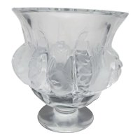 "LALIQUE France Clear & Frosted Crystal Glass DAMPIERRE 5"" Bird Vase"