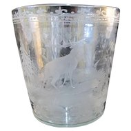 Etched Glass FRANCE Ice Champagne Bucket Vase w/ELK in Forest Trees