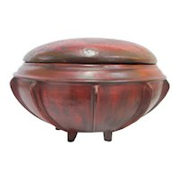 Large Red Lacquer BURMESE Antique Round Storage Wood Food Box with Lid