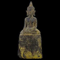 Vintage Carved Wood Sitting THAI BUDDHA Gold Gilt Statue Figurine