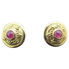 BURMESE Ruby & 14k Yellow Gold STAR Post Earrings