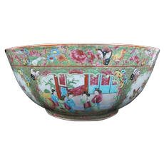 "Large Antique FAMILLE ROSE Chinese Canton 16"" Porcelain Punch Bowl"