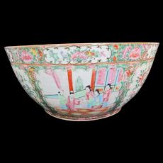 "Large Antique FAMILLE ROSE Medallion Chinese Medallion 16"" Porcelain Punch Bowl"