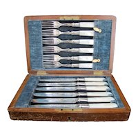 Antique Sheffield MOTHER of PEARL Silverplate Fish Fork Knife Set of 12 in Case