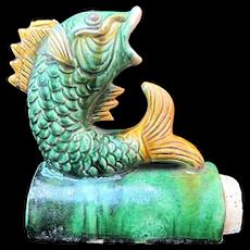 Antique CHINESE Glazed Ceramic Majolica KOI Fish Roof Tile Figurine