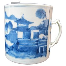 CHINESE Export Porcelain Large 19th Century CANTON Blue & White Mug