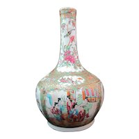 "Large Vintage Chinese FAMILLE ROSE 14"" Tall Hand Painted Figural Floral Vase"