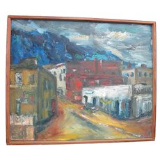 Portland Oregon Artist Virginia HOLSMAN Cityscape Front St.Signed Oil PAINTING