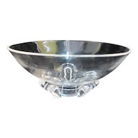 STEUBEN Clear Lead CRYSTAL Modern Art Glass Bowl w/3 Horeshoe Shaped Feet