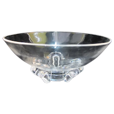 STEUBEN Clear Lead CRYSTAL Modern Art Glass Bowl w/3 Horeshoe Shaped Feet