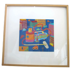 Whimsical MAX GROVER Signed Acrylic on Paper VAC SHACK Painting Framed