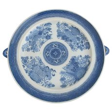 CHINESE Blue & White Porcelain Floral Raised Plate Serving Dish w/Handles
