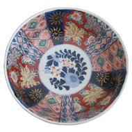"Japanese IMARI Large 9 3/4"" Fruit Salad Serving Bowl with Hand Painted Flowers"