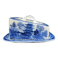 Antique BROSELEY Chinese FLOW BLUE & White Pattern Serving Dish with Lid
