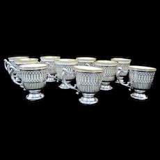 TIFFANY Sterling Silver LENOX Porcelain Demitasse Tea or Egg Cup 20pc Set