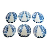 CHINESE Porcelain Cobalt Blue & White LEAF Shape Design Dish Plate Set of 6