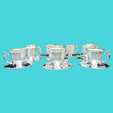 RESERVED for SUE Tiffany  Sterling Silver LenoxPorcelain Demitasse Tea or Egg Cup Saucer 30pc Set
