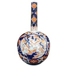 "Antique Early 19th Century JAPANESE Hand Painted IMARI Bottle Neck 12.5"" Vase"