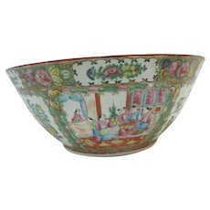 "Large FAMILLE ROSE Chinese Canton 15 3/4"" Porcelain Punch Bowl"