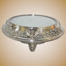 Antique SILVERPLATE Round MIRROR Tray with High Relief CHERUB Floral Design