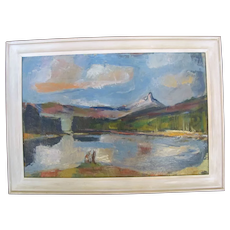 Oregon Art ANDREW VINCENT Signed Impressionist Mountain LANDSCAPE Oil Painting
