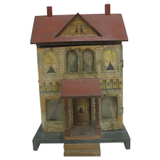 BLISS Antique 1901 Dollhouse WOOD Extended Porch 4 Cut-Out Windows Curtains