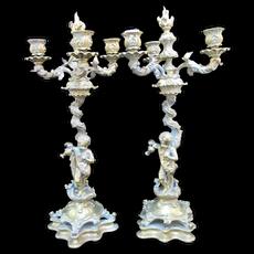Antique BRASS Art Nouveau CHERUB Candelabra Candle Holder Mantel Pair