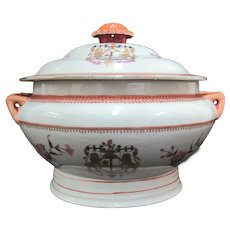 Antique CHINESE East India Lion ARMORIAL Tureen Serving Dish with Lid