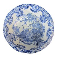 CHINESE Cobalt Blue Porcelain BIRD & Flower Design Basin Bowl