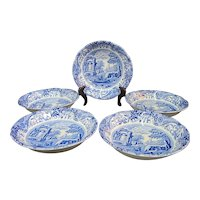 "SPODE C1816 Cobalt Blue Hand Painted ITALIAN 6 1/2"" Fluted Cereal Bowl Dish Set"