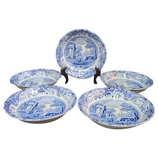 """SPODE C1816 Cobalt Blue Hand Painted ITALIAN 6 1/2"""" Fluted Cereal Bowl Dish Set"""