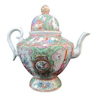 Chinese Famille ROSE MEDALLION Flower Butterfly Figural COFFEE POT