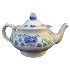 England DEVON George JONES Colorful Floral MAJOLICA Teapot