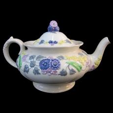 England DEVON George JONES Colorful Floral MAJOLICA Teapot