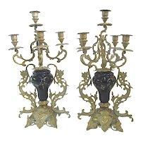 Antique Floral CLOISONNE Gold Gilt BRASS Figural Medallion Candelabra Pair
