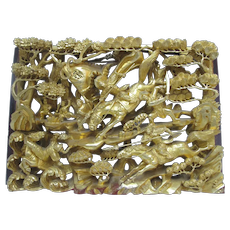 CHINESE Gold Gilt WOOD Carved BATTLE Scene Wall Hanging Panel