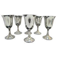 INTERNATIONAL Sterling Silver Lord Sailbrook P664 6pc Gold Wash Water Goblet Set