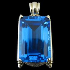 Impressive 78ct Blue TOPAZ 14k Yellow Gold FILIGREE Necklace PENDANT