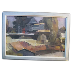 David McCosh 1940's Signed Framed Nautical Oil Painting ANCHORAGE from the ISLAND
