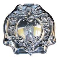 Antique VICTORIAN Silver Quad Plate Art Nouveau Female Floral Vanity Box EE Mono