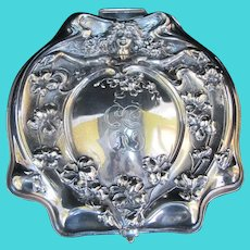 Antique VICTORIAN Silver Quad Plate Art Nouveau Female Floral Vanity Box EE Mono