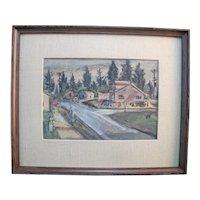 CHARLES HEANEY Oregon Casein on Board Painting Framed Art OREGON Street Scene