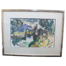 David McCosh Untitled Abstract LANDSCAPE Watercolor Framed Painting