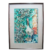 David McCosh Untitled Abstract BIRD Watercolor Framed Painting