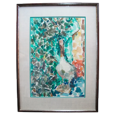 David McCosh Untitled Abstract BIRD Watercolor Framed Painting