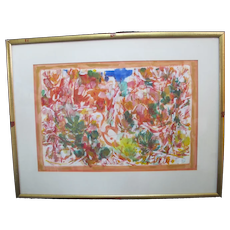 David McCosh Signed Abstract Watercolor Painting on Paper RED CANYON 1965