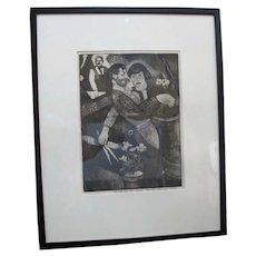 Charles Heaney Oregon Signed Framed Etching Limited Edition FLORISTS SHOP